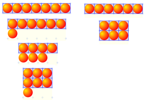 possible rectangular arrangements for six and seven